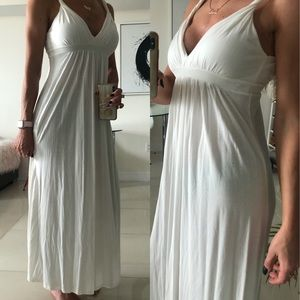 White Summer Maxi Dress V neck